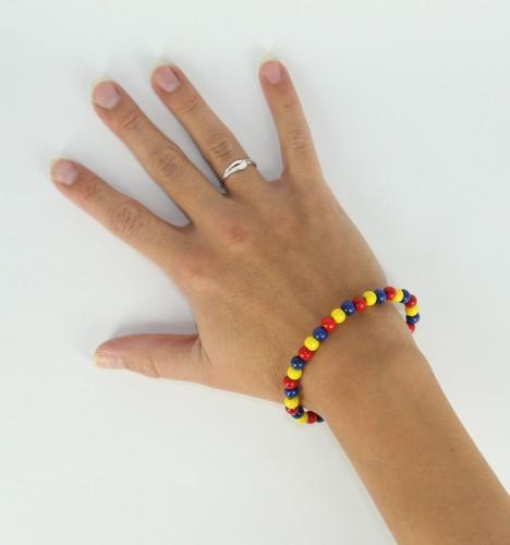 Fan kralen armband geel blauw rood