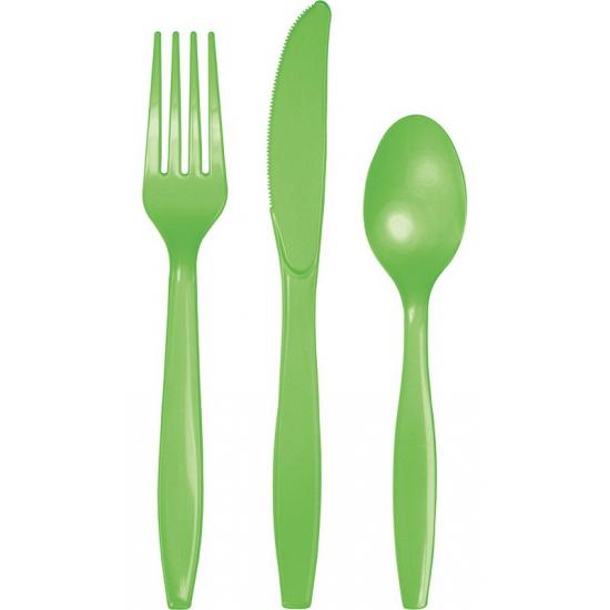 Feest bestek groen 24 delig