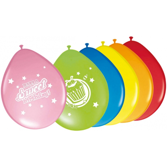 Feestelijk gekleurde ballonnen 8 stuks