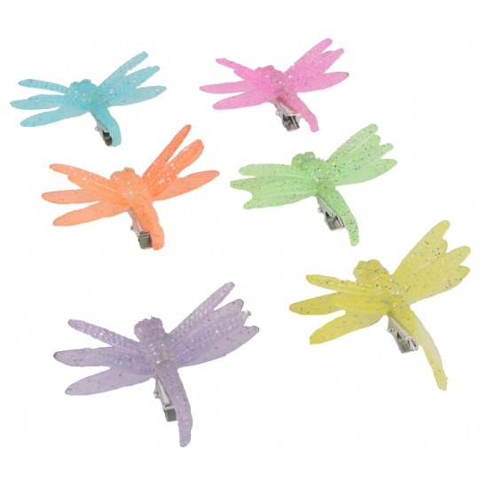 Fel gekleurde libelle haarspeld