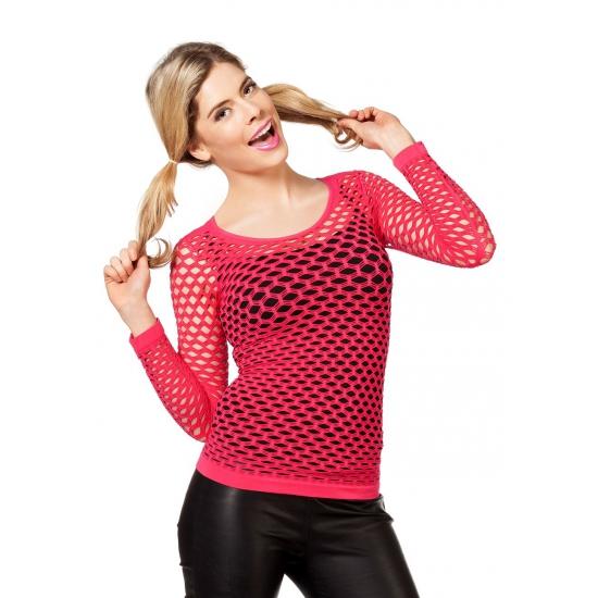 Fel roze t shirt met gaatjes