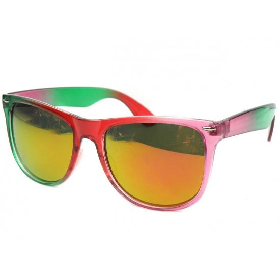 Festival zonnebrillen groen met roze