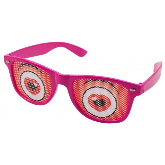 Fun bril roze met hartjes ogen