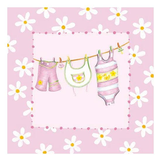 Geboorte servetten met roze kleertjes