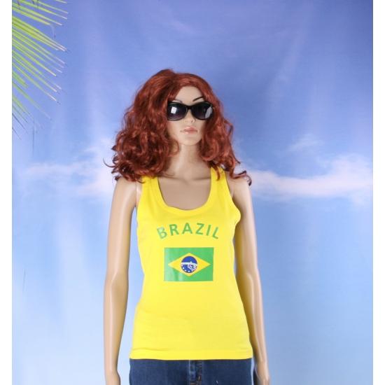 Geel dames shirtje met Braziliaanse vlag