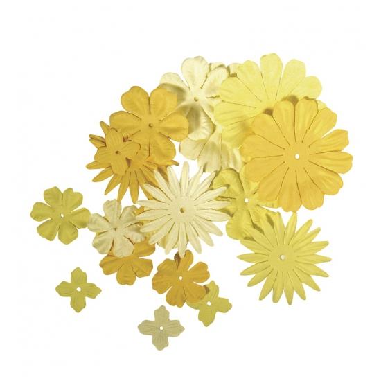 Gele knutsel bloemen van papier