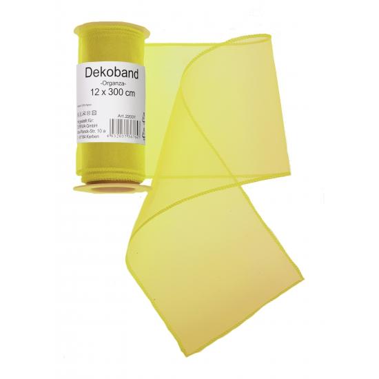 Gele organza strook 12 x 300 cm