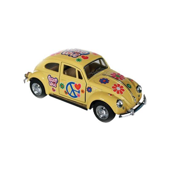 Gele VW kever modelauto 12 5 cm