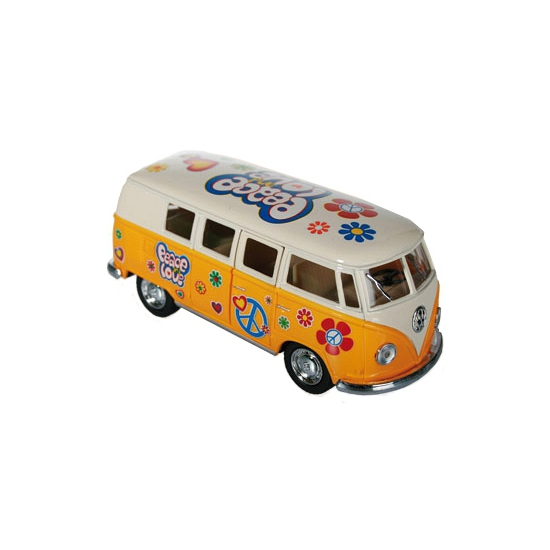 Gele VW model bus 12 5 cm