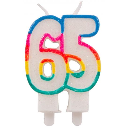 Glitter taartkaars 65