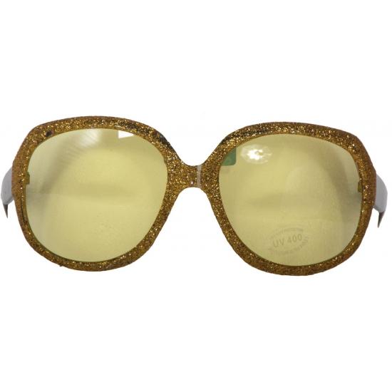 Glitterbril goud met gele glazen