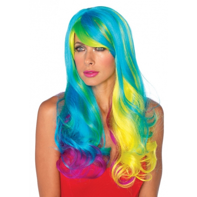 Golvende damespruik multi color