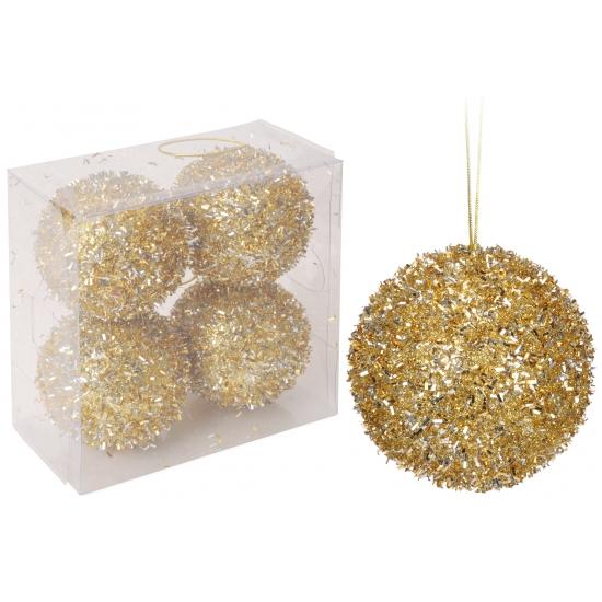 Gouden glitter kerstballen 4 stuks