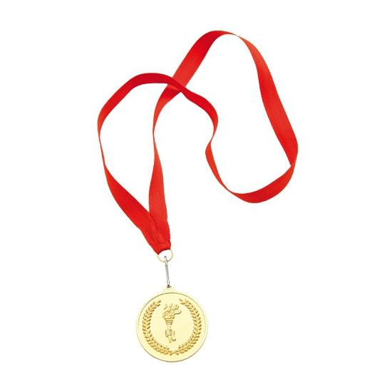Gouden medaille aan rood halslint