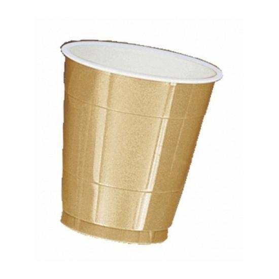 Gouden plastic bekers