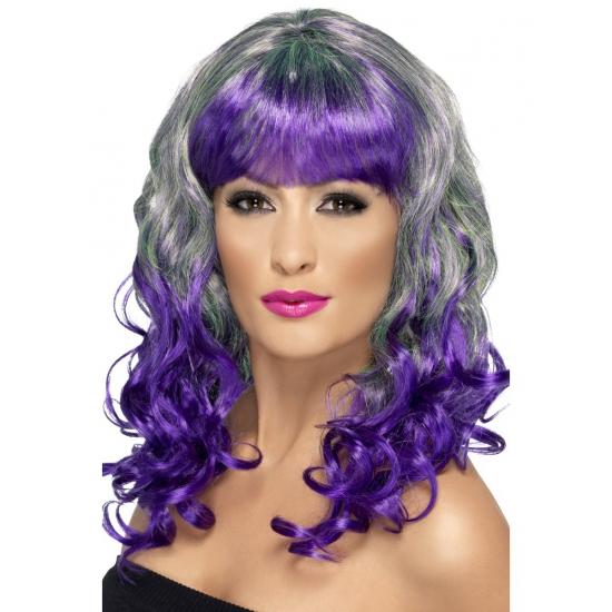 Grijs paarse damespruik met lang haar