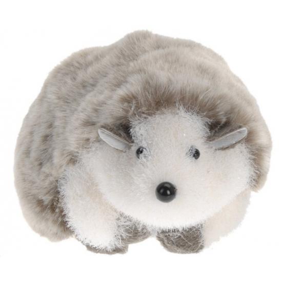 Grijs witte deco egel 18 cm