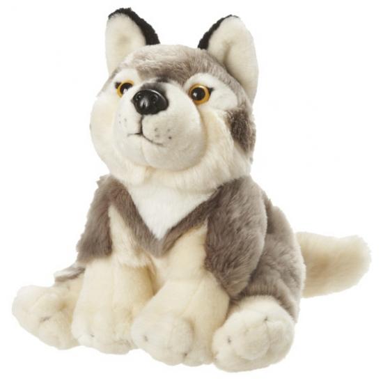 Grijs witte wolven knuffel 18 cm