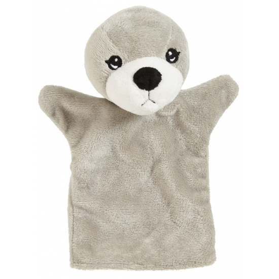 Grijze zeehonden handpop 22 cm