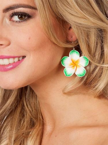 Groene bloemen oorbellen