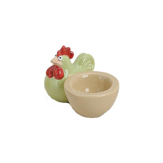 Groene hanen eierdopjes 9 cm