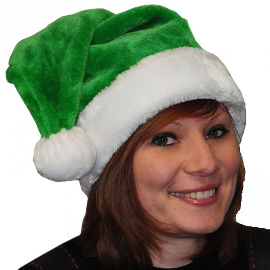 Groene kerstmuts van pluche