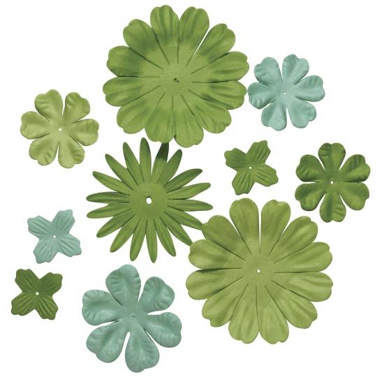 Groene knutsel bloemen van papier