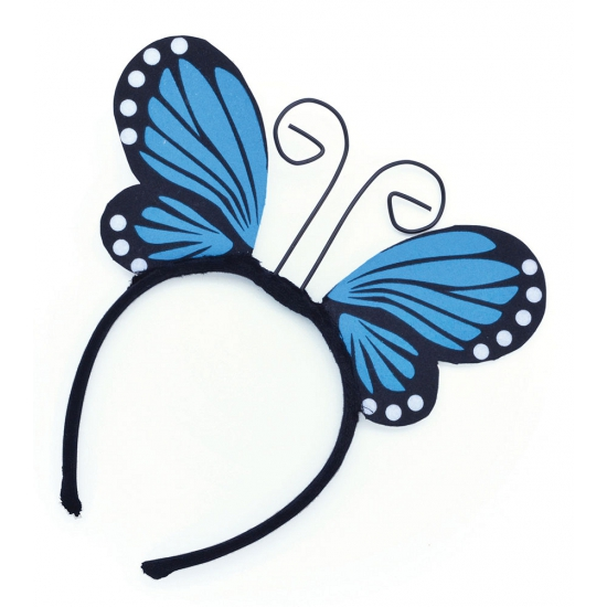 Haarband met vlindervleugels blauw