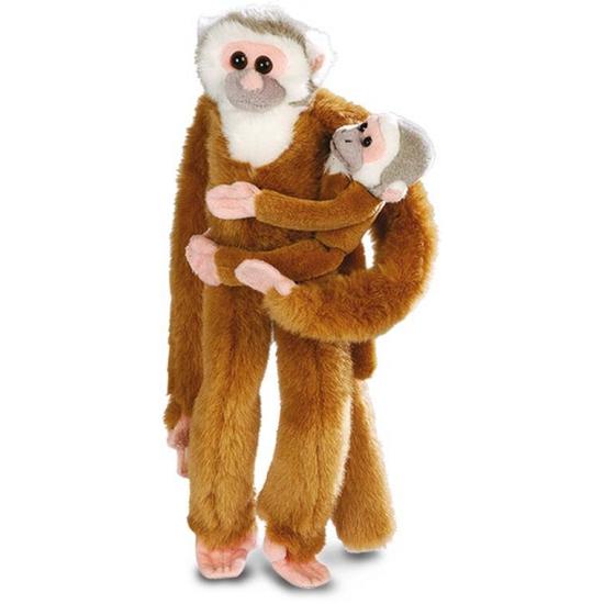 Hangende knuffel aap met baby 43 cm