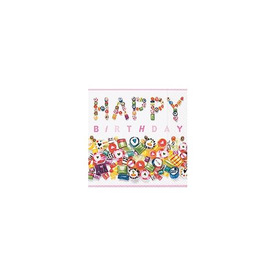 Happy birthday snoep servetten 20 stuks