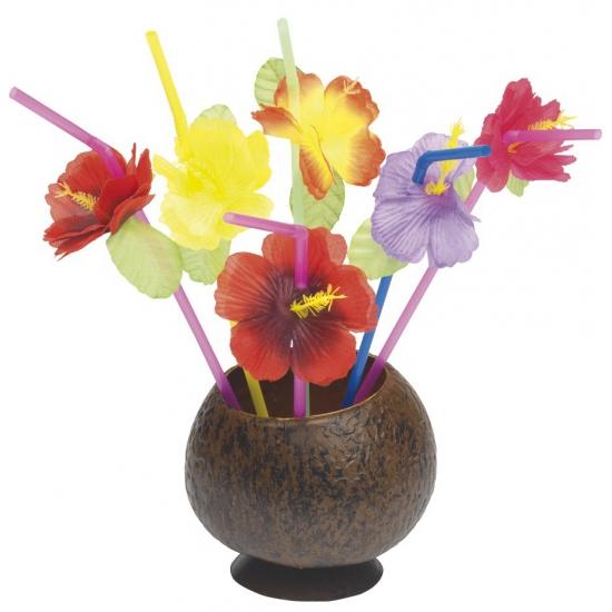 Hawaii rietjes met bloem 12 stuks