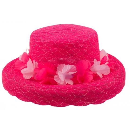 Hawaiikrans hoedje roze organza