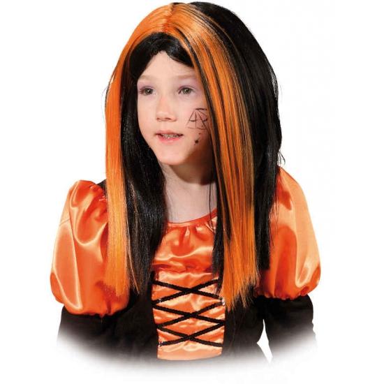 Heksenpruik voor meiden zwart oranje