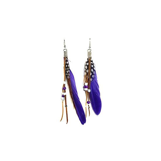 Hippe paarse veren oorbellen met kralen