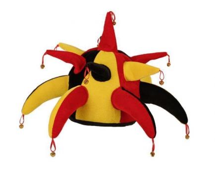 Joker hoed met belletjes rood geel en zwart