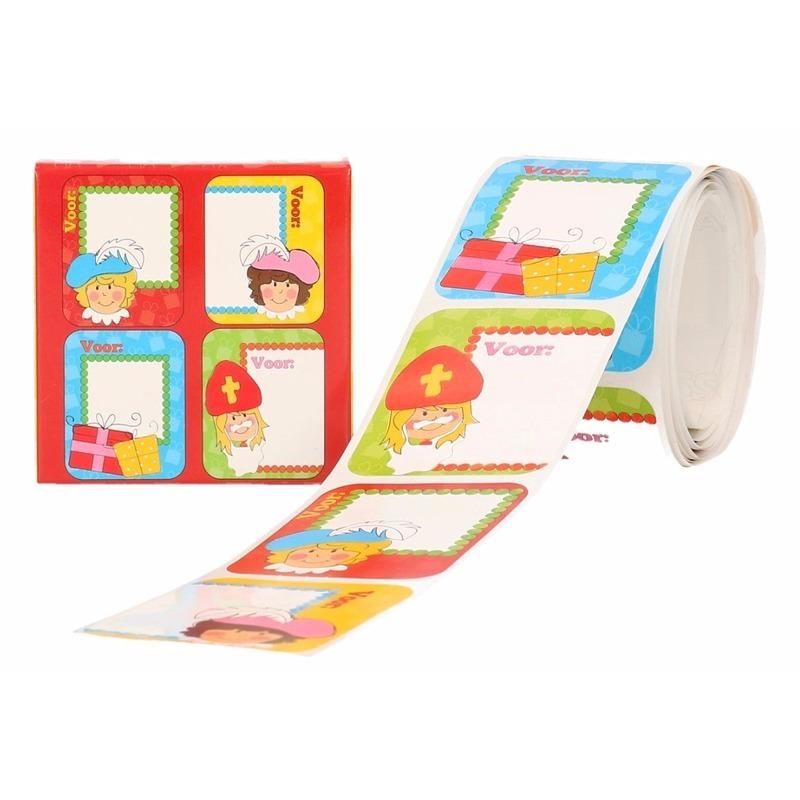 Kado stickers Sint in rode doos 50 stuks