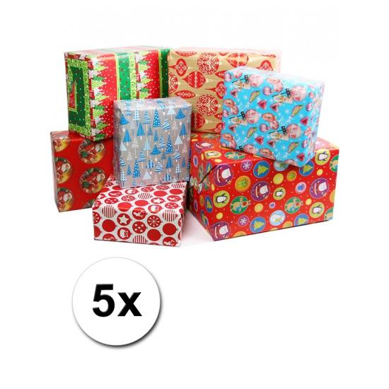 Kadopapier met kerst print 5 rollen