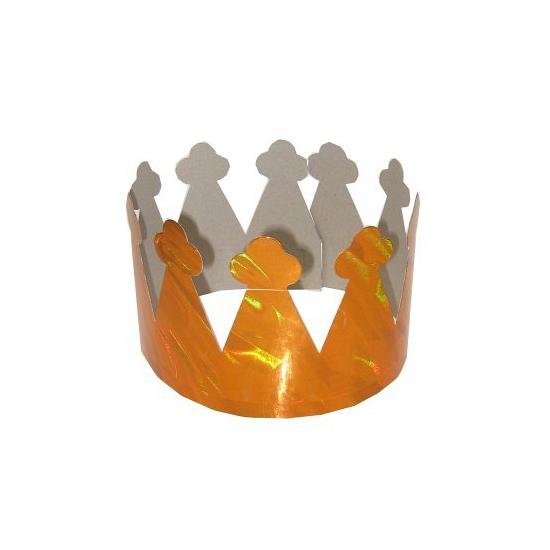 Kartonnen kroontjes metallic oranje