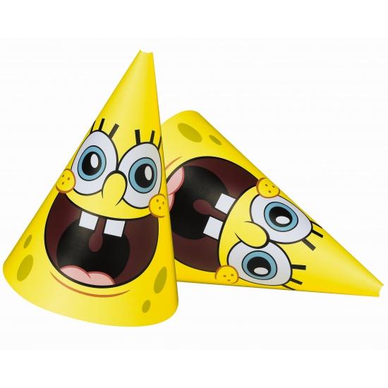 Kartonnen Spongebob hoedjes 6 stuks