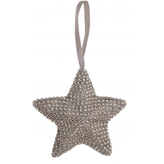 Kerst hangdecoratie ster grijs 15 cm