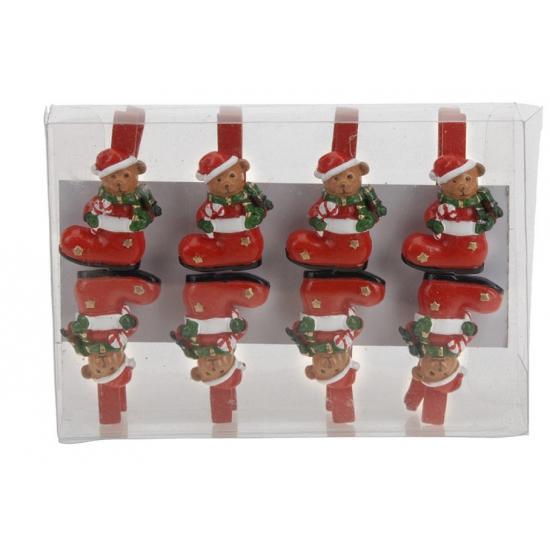Kerst thema wasknijpers beer in sok 8 stuks