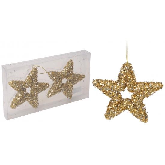 Kerstboom hangers gouden glitter ster 2 stuks
