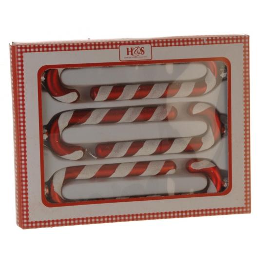 Kerstboom zuurstok hangers 6 stuk