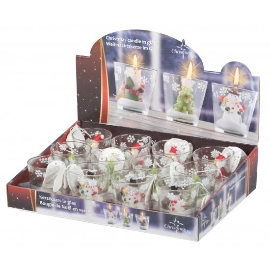 Kerstman decoratie kaarsje in glas 6 5 cm