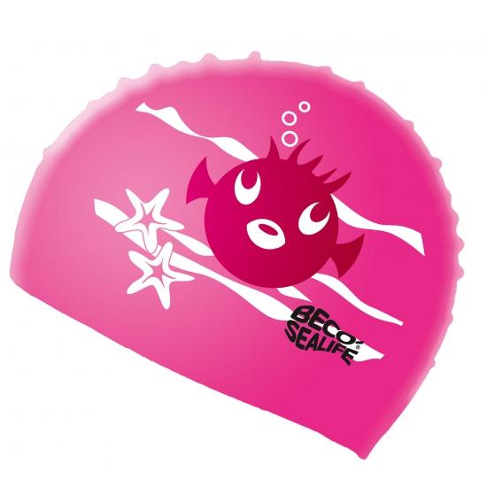 Kinder badmuts van siliconen roze