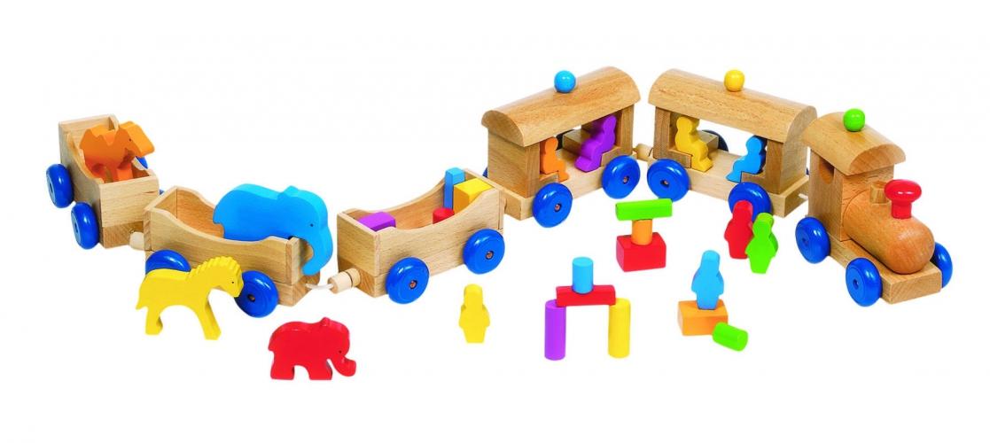 Kinderspeelgoed houtenb trein met wagons