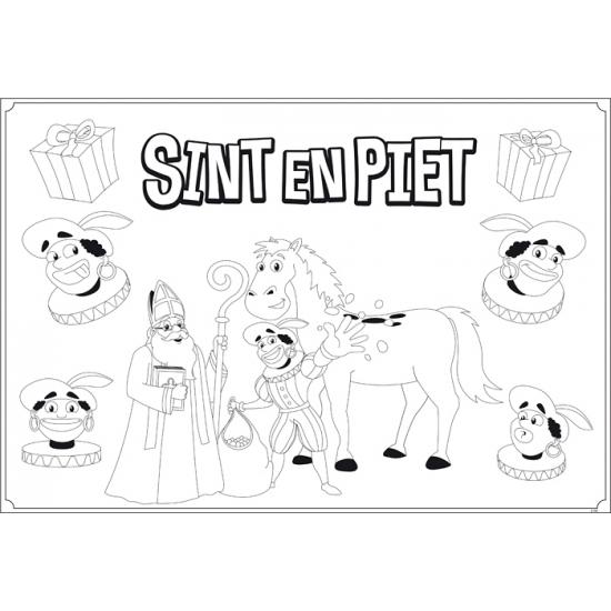 Kleurplaat placemats met plaatjes van Sinterklaas 6 stuks