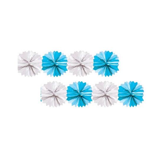 Kraamvisite blauw met witte waaier slinger