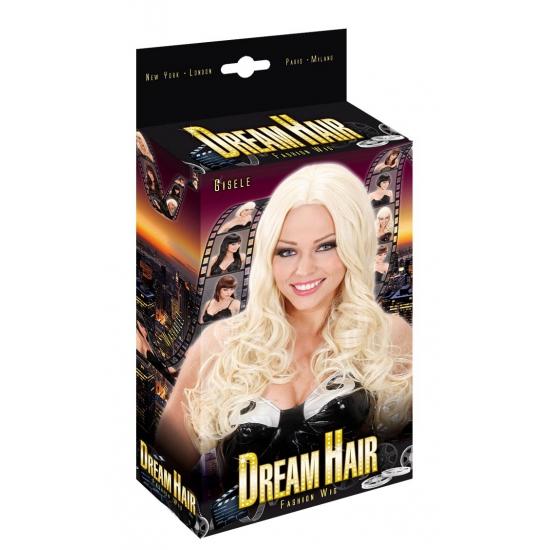 Lang blond haar met krul pruik