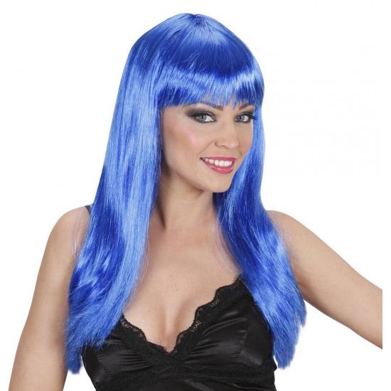 Lange blauwe pruik met stijl haar